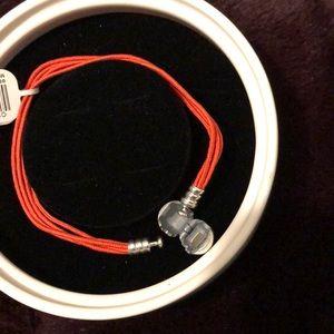 Orange pandora multi strand bracelet
